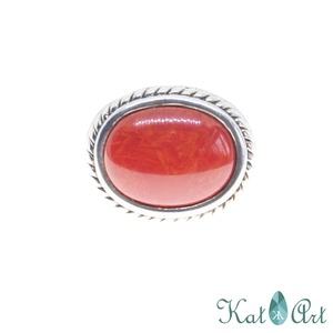Ezüst gyűrű, Ékszer, Gyűrű, Ékszerkészítés, Ötvös, Korall\nMérete 59-es.\n\n, Meska