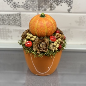 Őszi Mini tökös csoda - asztaldísz, dekoráció, Otthon & lakás, Lakberendezés, Dekoráció, Asztaldísz, Virágkötés, Egyedi, kézzel készített asztaldísz őszi termésekkel, dísztökkel. A dekoráció kerámia kaspóra készü..., Meska