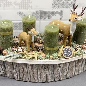 Szarvasok az erdőben, óriás méretű adventi koszorú - dekoráció, Otthon & lakás, Lakberendezés, Dekoráció, Ünnepi dekoráció, Karácsony, Karácsonyi dekoráció, Asztaldísz, Virágkötés, Egyedi, kézzel készített adventi dísz termésekkel, karácsonyi gömböcskékkel, fenyőfával, fenyőággal,..., Meska