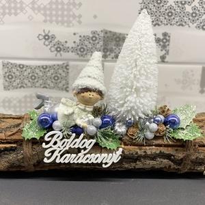 Mohó manó karácsonyi asztaldísz - dekoráció, Otthon & lakás, Lakberendezés, Dekoráció, Ünnepi dekoráció, Karácsony, Karácsonyi dekoráció, Asztaldísz, Virágkötés, Egyedi, kézzel készített karácsonyi dísz termésekkel, csillogó, havas selyemvirággal, fenyővel, bogy..., Meska
