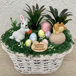Álmodozó húsvéti nyuszik - asztaldísz, dekoráció, Otthon & lakás, Lakberendezés, Dekoráció, Asztaldísz, Kaspó, virágtartó, váza, korsó, cserép, Ünnepi dekoráció, Húsvéti díszek, Virágkötés, Egyedi, kézzel készített asztaldísz cuki nyuszikkal, húsvéti tojásokkal és selyemvirágokkal.\nMinőség..., Meska