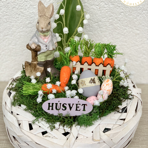 Kertész húsvéti nyuszi - asztaldísz, dekoráció, Otthon & lakás, Lakberendezés, Dekoráció, Asztaldísz, Kaspó, virágtartó, váza, korsó, cserép, Ünnepi dekoráció, Húsvéti díszek, Virágkötés, Egyedi, kézzel készített asztaldísz cuki nyuszival, húsvéti tojásokkal és selyemvirágokkal.\nMinőségi..., Meska