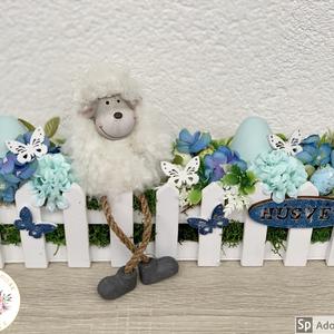 Lógó lábú húsvéti bari - asztaldísz, dekoráció, Otthon & lakás, Lakberendezés, Dekoráció, Asztaldísz, Kaspó, virágtartó, váza, korsó, cserép, Ünnepi dekoráció, Húsvéti díszek, Virágkötés, Egyedi, kézzel készített asztaldísz cuki barival, húsvéti tojásokkal és selyemvirágokkal.\nMinőségi a..., Meska