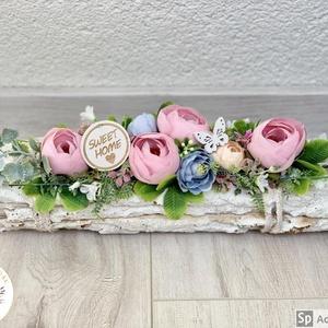 Farönkös szépi - asztaldísz, dekoráció, Otthon & lakás, Lakberendezés, Dekoráció, Asztaldísz, Kaspó, virágtartó, váza, korsó, cserép, Virágkötés, Egyedi, kézzel készített selyemvirágos asztaldísz. Selyem boglárkák és angol rózsák díszítik.\nMinősé..., Meska