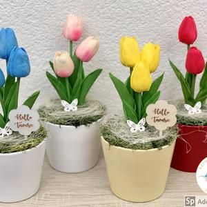 Élethű tulipánok - asztaldísz, dekoráció, Otthon & lakás, Lakberendezés, Dekoráció, Asztaldísz, Ünnepi dekoráció, Anyák napja, Virágkötés, Nekünk nagyon tetszenek ezek a rendkívül élethű tulipánok. ❤️\nMéretei: 25-27 cm magas és 11-12 cm át..., Meska