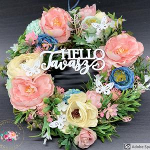 AKCIÓS!! Hello tavasz kopogtató- ajtódísz, dekoráció, Otthon & lakás, Lakberendezés, Ajtódísz, kopogtató, Dekoráció, Ünnepi dekoráció, Anyák napja, Virágkötés, Egyedi, kézzel készített kopogtató csupa selyemvirággal. Igazi tavaszi színvilágú, rózsák, hortenziá..., Meska