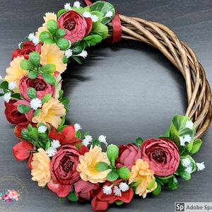 Élénk színek világa - ajtódísz, dekoráció, Otthon & lakás, Lakberendezés, Ajtódísz, kopogtató, Dekoráció, Ünnepi dekoráció, Anyák napja, Virágkötés, Egyedi, kézzel készített kopogtató csupa selyemvirággal.\nMinőségi alapanyagok, selyemvirágok, boglár..., Meska