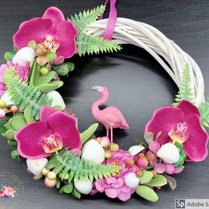 Trópusi flamingós, orchideás kopogtató - ajtódísz, dekoráció, Otthon & lakás, Lakberendezés, Ajtódísz, kopogtató, Dekoráció, Ünnepi dekoráció, Anyák napja, Virágkötés, Egyedi, kézzel készített kopogtató csupa selyemvirággal, orchideákkal és kagylókkal.\nMinőségi alapan..., Meska