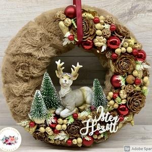 Téli csendélet Pilóta Rudolffal - ajtódísz, kopogtató, dekoráció, Otthon & Lakás, Karácsony & Mikulás, Karácsonyi kopogtató, Virágkötés, Egyedi, kézzel készített ajtódísz termésekkel, műszőrmével, karácsonyi gömböcskékkel, fenyőfával és ..., Meska