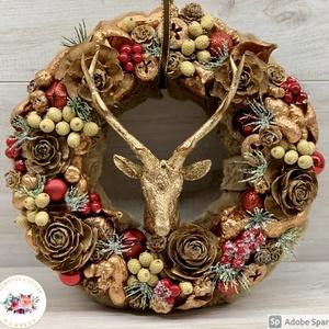 Szarvas elegancia - ajtódísz, kopogtató, dekoráció, Otthon & Lakás, Karácsony & Mikulás, Karácsonyi kopogtató, Virágkötés, Élőben csodaszép. :) Egyedi, kézzel készített ajtódísz termésekkel, karácsonyi gömböcskékkel és szar..., Meska