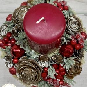 Egy gyertyás piros adventi - téli/karácsonyi dekoráció, asztaldísz (AKezmuvescsodak) - Meska.hu