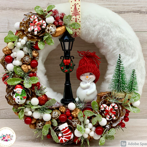 Huncut hóember - ajtódísz, kopogtató, dekoráció, Otthon & Lakás, Karácsony & Mikulás, Karácsonyi kopogtató, Virágkötés, Egyedi, kézzel készített ajtódísz termésekkel, kandeláberrel, karácsonyi gömböcskékkel és édességekk..., Meska