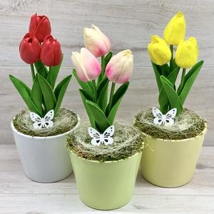 Élethű, cserepes tulipán, 3 szál - asztaldísz, dekoráció, Otthon & Lakás, Dekoráció, Asztaldísz, Virágkötés, Élethű, real-touch tulipánnal készült kerámia kaspós asztaldísz. 3 szál van a kaspóban.\nMéretei: 27x..., Meska
