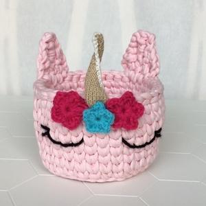 Egyedi horgolt Unikornis rózsaszín kosár, kislányoknak is - PONY, egyszarvú, ÖKO zéró hulladék, zero waste, Játék & Gyerek, Plüssállat & Játékfigura, Unikornis, Horgolás, Újrahasznosított alapanyagból készült termékek, Egy nagyon aranyos kislánynak horgoltam először ezt a kedves unikornis-kosarat, most nektek is készí..., Meska