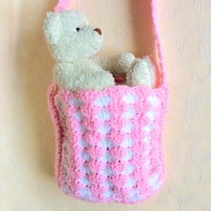 Horgolt táska kislánynak - egyedi vidám tarisznya, élénk rózsaszín és fehér színekben., Ruha & Divat, Babaruha & Gyerekruha, Babafotózási ruha és kellék, Kislány számára horgoltam ezt a vidám válltáskát, élénk rózsaszín és fehér színekben - ideális beler..., Meska