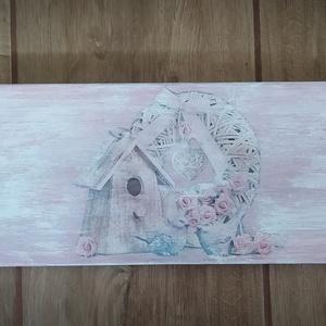Vintage fali rózsás fogas, Otthon & lakás, Lakberendezés, Képkeret, tükör, Decoupage, transzfer és szalvétatechnika, Gyalult fenyőfa deszkából készült, 50 cm széles 2 akasztós fogas vagy képkeret tartó. Rózsaszín és f..., Meska