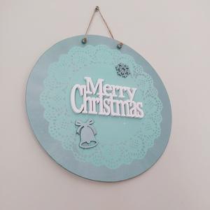 Karácsonyi menta-metál ajtó kopogtató, Otthon & Lakás, Dekoráció, Ajtódísz & Kopogtató, Festett tárgyak, 28 cm átmérőjű fa lap festve, stencilezve és díszitve.Egyedi kérések miatt keress üzenetben. ..., Meska