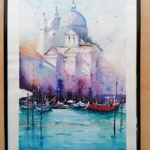 Velence, Otthon & lakás, Képzőművészet, Festmény, Akvarell, Lakberendezés, Falikép, Festészet, Velencei pillanatkép. Mérete 32×41 cm. Paszpartuzva, fekete, üvegezett, műanyag keretben postázom...., Meska