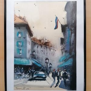 La rue, Otthon & lakás, Képzőművészet, Festmény, Akvarell, Lakberendezés, Falikép, Festészet, Szeretettel ajánlom figyelmedbe egy francia utcácskáról készült festményemet.\nMérete 32×41 cm. Paszp..., Meska