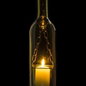 Borosüveg lámpa  világoszöld AL1, Hangulatlámpa, Lámpa, Otthon & Lakás, Üvegművészet, Fémmegmunkálás, Borosüvegből készült hangulatos mécses,mely bárpultok,borospincék,teraszok hangulatos kiegészítője l..., Meska