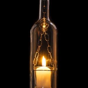 Borosüveg lámpa Fehér AL2, Hangulatlámpa, Lámpa, Otthon & Lakás, Üvegművészet, Fémmegmunkálás, Borosüvegből készült hangulatos mécses,mely bárpultok,borospincék,teraszok hangulatos kiegészítője l..., Meska