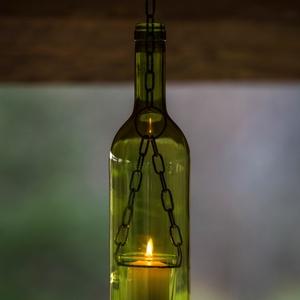 Borosüveg lámpa Zöld AL3, Férfiaknak, Sör, bor, pálinka, Lakberendezés, Otthon & lakás, Lámpa, Üvegművészet, Fémmegmunkálás, Borosüvegből készült hangulatos mécses,mely bárpultok,borospincék,teraszok hangulatos kiegészítője l..., Meska