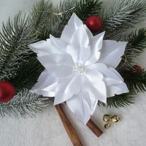 Fehér mikulásvirág / poinsettia, Karácsonyi dekoráció, Karácsony & Mikulás, Otthon & Lakás, Mindenmás, Közeleg a karácsony, eljött a díszítés ideje! Emlékszel a gyerekkorodból azokra az amerikai karácson..., Meska