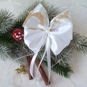 Karácsonyfára csíptetős szatén masni, fehér - arany csillámos, Otthon & Lakás, Karácsony & Mikulás, Karácsonyfadísz, Mindenmás, Szaténból és csillámos szalagból készültek ezek a dús kis masnik, amelyek tökéletesen illeszkednek a..., Meska