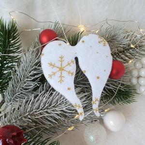 KIÁRUSÍTÁS Csipkés, filc angyalszárny karácsonyfa dísz, függő, ajándékkísérő (Albertina) - Meska.hu