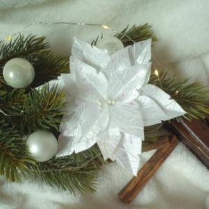 Fehér csillámos mikulásvirág / poinsettia, Csokor & Virágdísz, Dekoráció, Otthon & Lakás, Mindenmás, Közeleg a karácsony, eljött a díszítés ideje! Emlékszel a gyerekkorodból azokra az amerikai karácson..., Meska