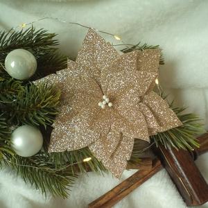 Arany csillámos mikulásvirág / poinsettia, Otthon & lakás, Dekoráció, Ünnepi dekoráció, Karácsony, Karácsonyfadísz, Mindenmás, Közeleg a karácsony, eljött a díszítés ideje! Emlékszel a gyerekkorodból azokra az amerikai karácson..., Meska