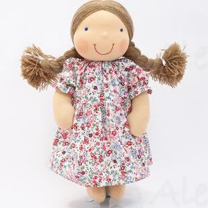 Újdonság!- Waldorf baba, és azonos anyagból készült kislány ruha- kék (Aledi) - Meska.hu