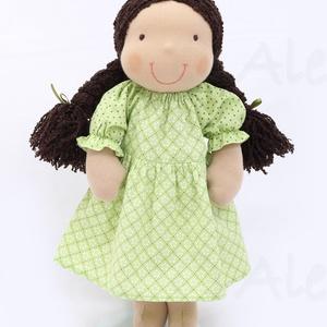 Újdonság!- Waldorf baba, és azonos anyagból készült kislány ruha- zöld (Aledi) - Meska.hu