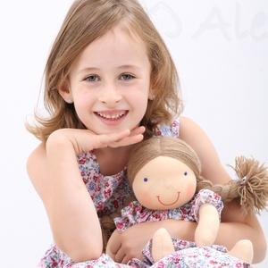 Waldorf baba és azonos anyagból készült kislány ruha- kék, 110-s (Aledi) - Meska.hu
