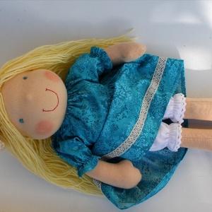 Kék ruhás szőke Waldorf baba (Aledi) - Meska.hu