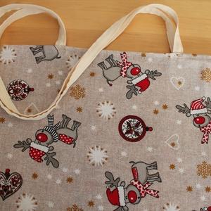 Rudis karácsonyi szatyor, Táska & Tok, Bevásárlás & Shopper táska, Shopper, textiltáska, szatyor, Erősebb pamutvászonból varrt kb. 36 X 39 cm-s bevásárló táska Rudis anyagból. Füle hossza kb. 73 cm...., Meska