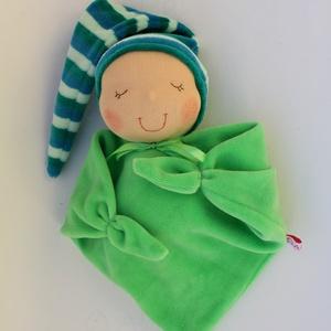 Rongyi Waldorf baba- zöld, Gyerek & játék, Játék, Baba, babaház, Baba játék, Puha plüss Waldorf baba a legkisebbeknek. Feje műszálból készült. Magassága kb. 27 cm, plusz a sapi...., Meska