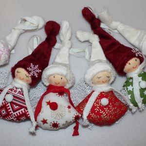 6 db. karácsonyfadísz manó, angyal, Karácsony & Mikulás, Karácsonyfadísz, Kb. 9 cm magas, saját tervezésű karácsonyfadísz manók, angyalkák. Testük pamutvászon, fejük rugalmas..., Meska