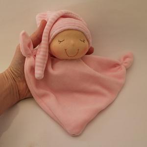 Rongyi Waldorf baba- rózsaszín, Játék & Gyerek, 3 éves kor alattiaknak, Alvóka & Rongyi, Puha plüss rongyi baba a legkisebbeknek. Magassága kb. 20 cm, plusz a sapi. Mosható. Kedves ajándék ..., Meska