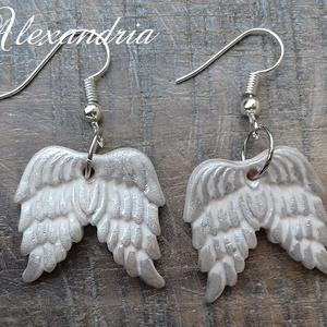 Különleges angyalszárny formájú fülbevaló - ékszer - fülbevaló - lógó fülbevaló - Meska.hu