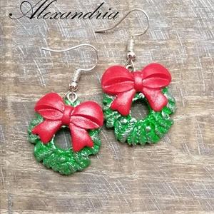Karácsonyi - Fülbevaló, Ékszer, Fülbevaló, Ékszergyurmából készült mini adventi koszorú fülbevaló. Kitűnő választás ajándéknak vagy lepd meg ve..., Meska