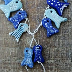 Kék tenger nyaklánc , Ékszer, Hosszú nyaklánc, Nyaklánc, Kézzel készült egyedi tervezésű halacskás  nyaklánc. Minden darab egyedi, nincs két teljesen ugyanol..., Meska
