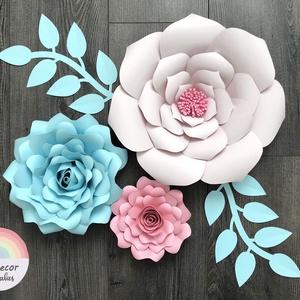 Óriás papírvirág szett - kék rózsaszín, Csokor & Virágdísz, Dekoráció, Otthon & Lakás, Mindenmás, Papírművészet, Az óriás papírvirág szett gyönyörű dekoráció babaágy fölé, nappaliba, étkezőbe, irodába stb.\nA legna..., Meska