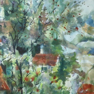 Macedón falu, 2020, Művészet, Festmény, Akvarell, Tájkép, akvarell, papír, 50 x 34,5 cm. Ezt a festményt a macedóniai ohridi utam inspirálta. A falusi..., Meska