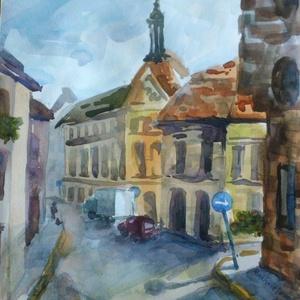 Vasárnap, reggel, Budapest, 2020, Művészet, Festmény, Akvarell, Városkép. Akvarell, papír, 25 x 28,5 cm Budapesten minden hétvégi reggel csendes., Meska