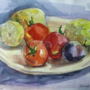 Lédús keverék, 2018, Művészet, Festmény, Akvarell, Csendélet, akvarell, papír, 34,5 x 25 cm Mindig jó, ha különféle vitaminok vannak a konyhában. Válas..., Meska