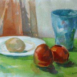 Reggeli, 2018, Művészet, Festmény, Akvarell, Egy tojás és paradicsom - világos. De mi van a bögrében? Talán zöld tea?, Meska