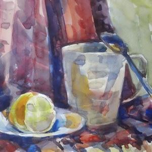 Tea citrommal, 2019, Művészet, Festmény, Akvarell, Festészet, Csendélet, akvarell, papír, 35 x 25 cm\nKezelje testét és lelkét egy mézes-citromos gyömbérteával...., Meska