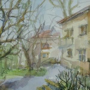 Tavasz, 2020, Művészet, Festmény, Akvarell, Festészet, Akvarell, papír, 23,5 x 15 cm, Meska