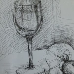 Csendélet, 2018, Művészet, Grafika & Illusztráció, Fotó, grafika, rajz, illusztráció, Filctoll, papír, 21 x 29,5 cm, Meska